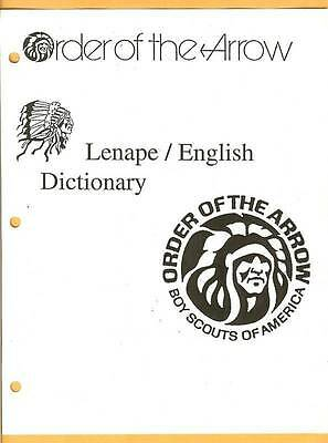 ORDER OF THE ARROW~Lenape/English DICTIONARY Print Edition**+*