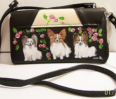 Papillon hand painted Sasha 3 way wallet wristlet cross body phone bag