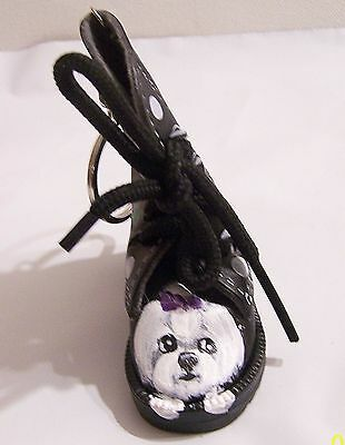 Maltese hand painted mini faux leather boot key ring real shoestrings