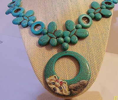 hand painted Yorkie turquoise pendant necklace