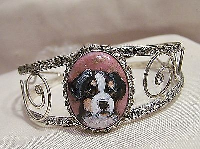 hand painted Bernese mountain Dog dog  on jasper stone  silver plated bracelet