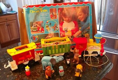 VTG COMPLETE Fisher Price Little People CIRCUS TRAIN & ANIMALS w DAMAGED BOX 991