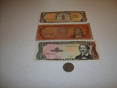 Vintage Dominican Republic Money,three (3) Paper & One (1) Coin