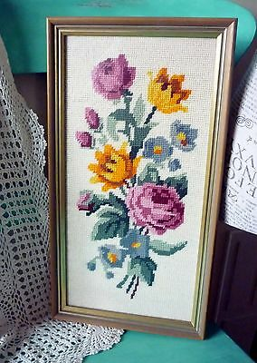 VINTAGE Framed FLORAL BOUQUET CROSS STITCH TAPESTRY Behind Glass