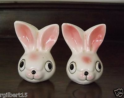 Rabbits Bunny Salt and Pepper Shaker Japan Ceramic Vintage Pair