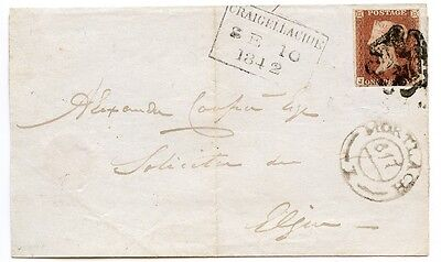 1842 cover with 1d Pl 20 to Elgin from Mortlach / Craigellachie with black MC.
