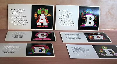 1968 New Dimensions In Education LETTER PEOPLE Flash Cards MOD ALPHABET good