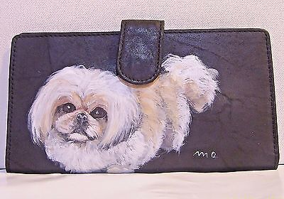 Pekingese hand painted original art genuine leather mundi slim checkbook wallet