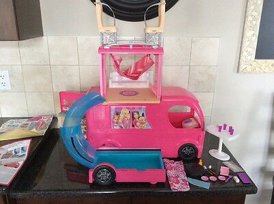 Barbie Doll Camper Van RV Vehicle Pool Slide Pop Up Playset Pink Girls