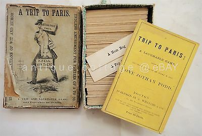 1857 antique TRIP TO PARIS GAME mudge & spooner victorian toy playing cards