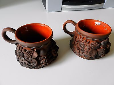 Lot of 2 hand made coffee cups (Ukraine, pottery)