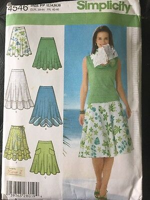 Simplicity 4546 Sewing Pattern Misses 3/4 Circle Skirt Plus Size 12 14 16 18