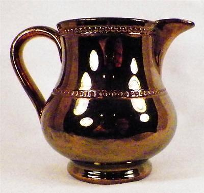 Antique Copper Luster Cream Pitcher Creamer Bulbous Beaded Bands Pottery Nice