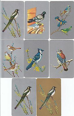 *Vintage Swap / Playing Cards - 8 SINGLE-  BIRDS, MOSTLY SILVER