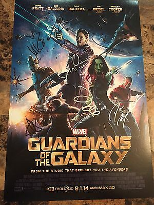 Guardians of the Galaxy cast signed poster (12x18)