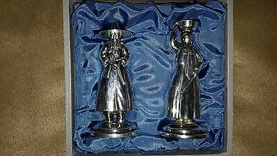 NIB Antique .950 STERLING SILVER FIGURAL ORIENTAL SALT PEPPER SHAKER SET JAPAN