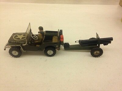 Vintage Arnold U.S. Army WWII Jeep Tin Windup Toy Firing Cannon US Zone Germany