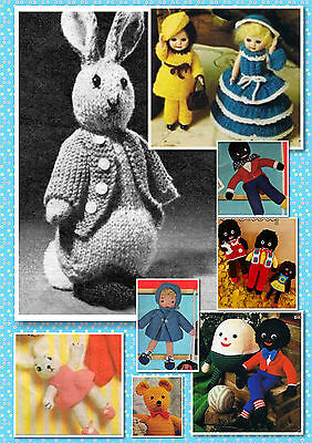100+ Vintage TOY & DOLL PATTERN ~ Knitting & Crochet ~ Peter Rabbit + much more