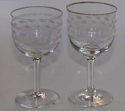 Two Vintage Pall Mall Etched Wine Glasses - Red & White - VGC