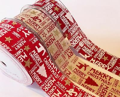 Bertie's Bows Merry Christmas 38mm Burlap Ribbon - sold by the metre