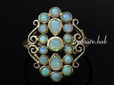 R274 Vintage style Genuine 9K Yellow Gold SOLID Natural OPAL Cluster Ring size P