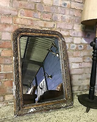 Lovely Antique French Distressed Framed Mirror