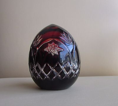 Vintage Czech Bohemian ? Hollow Glass Crystal Dark Ruby Red Star Cut Clear Egg