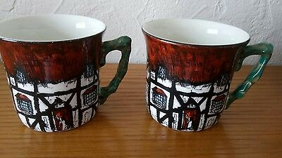 Vintage Maddock & Sons China Rd 742096 2 Cups  Rustic Cottage-Vgc
