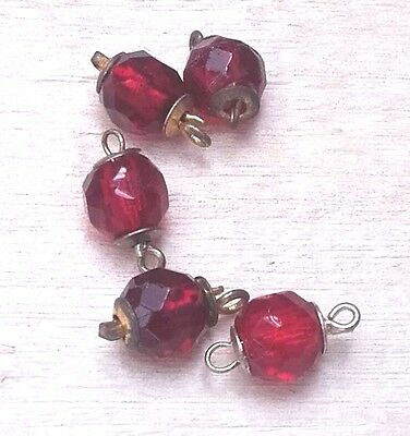 5 X Vintage Czech 1 strand Faceted Ruby Red Glass Bead Necklace Clasps