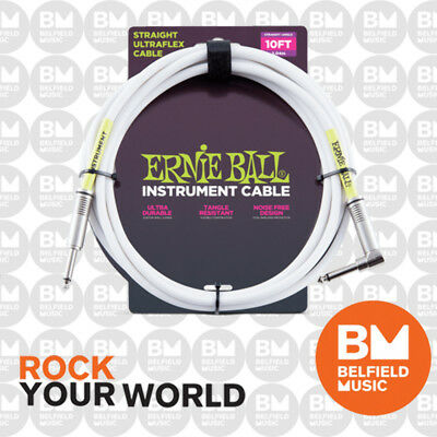 Ernie Ball 6049 Ultraflex 10ft (3m) White Instrument Cable Straight / Angle Lead