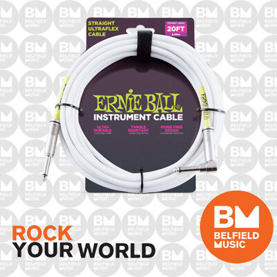 Ernie Ball 6047 Ultraflex 20ft (6m) White Instrument Cable Straight / Angle Lead