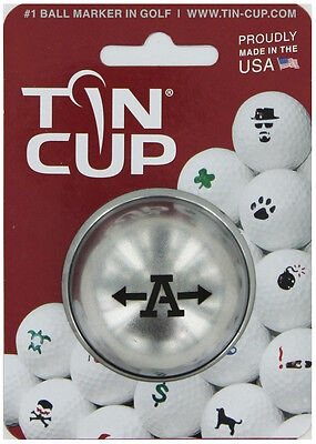 Tin Cup. Golf Ball Marker Système. Alpha Players Lettre A