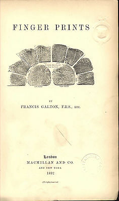 Fingerprints Scarce Original First Edition Francis Galton 1892