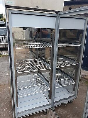 commercial freezer, stainless steel.