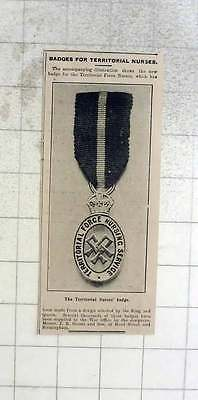 1909 New Badge For The Territorial Force Nurses