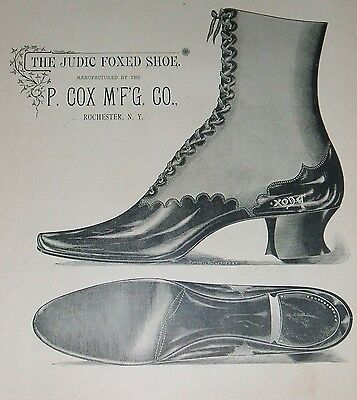 Original 1890 Full Page Illustrated Ad for P. Cox Shoe Manufacturering Co.