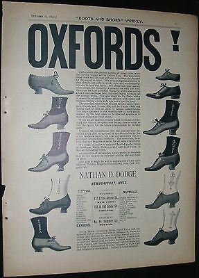 1890 Full Page Illustrated Advertisement for Nathan Dodge Shoes Newburyport, Ma.