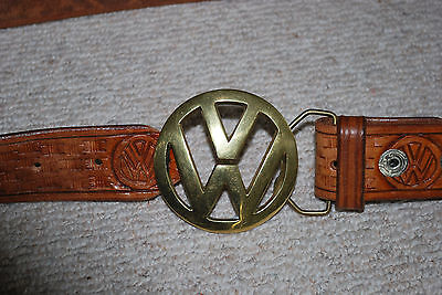 Vintage Vw Volkswagen Leather Belt With Vw Buckle