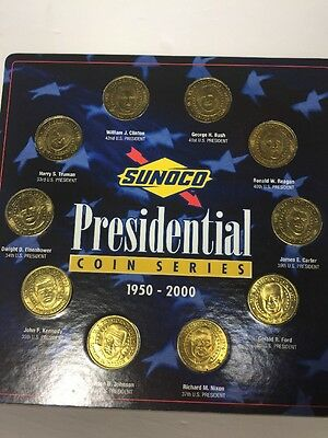 Sunoco Presidential Coin Series Set of 10 Brass Coins, 1950-2000