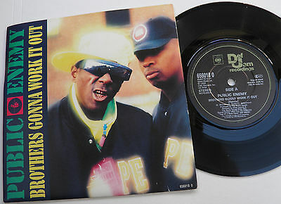 "Public Enemy-Brothers Gonna (Remix)-UK VINYL DEF JAM 7""-Hip Hop Rap-1990-HEAR"