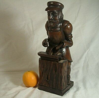 ANTIQUE c1890 big CARVED OAK FIGURE BLACKSMITH SMITHY arts & crafts statue