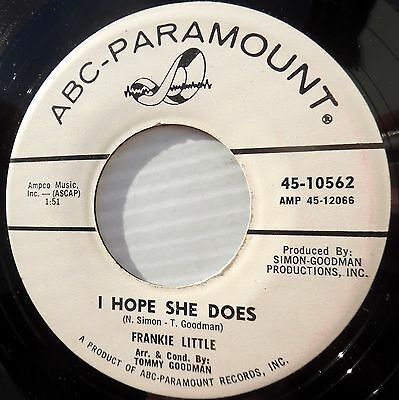 FRANKIE LITTLE teen pop bopper promo 45 FROM THIS DAY ON / I HOPE SHE DOES F2797
