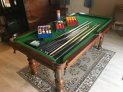 Slate Bed Pool Dining Table - Handmade & Antique - Leather Chairs & accessories