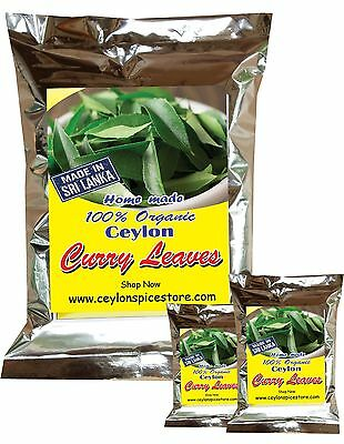 Fresh Dried Curry Leaves  100% Organic Natural Leaves from Ceylon 25g Free Ship