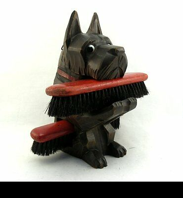Art Deco Black Forest Carved Wood Terrier Dog Brush Holder