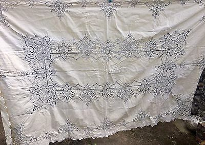 Gorgeous antique/vintage large heavy linen tablecloth &8 napkins IRISH? MADEIRA?