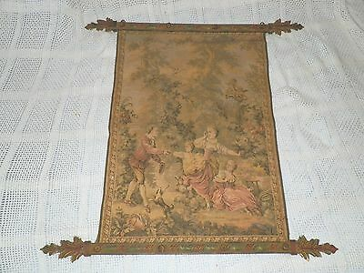 "MADE IN FRANCE TAPESTRY ANTIQUE FRENCH WALL HANGING ORNATE IRON BOARDER 28""x19"""