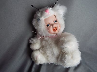 Show Stoppers Babes in the Wild Series White Kitten Porcelain Doll Plush Toy USA