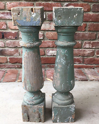 """Architectural Salvage Wood Balusters 21"""" Chippy Sage Green Paint"""