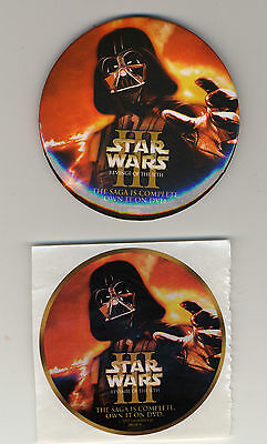 Star Wars Revenge of the Sith Promo Pinback Button + Sticker Darth Vader